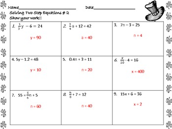 Solving Two-Step Equations Worksheets St. Patrick's Day by Math Central