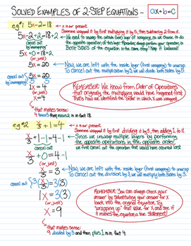 Solving Two-Step Equations - instructions, lesson, solved examples