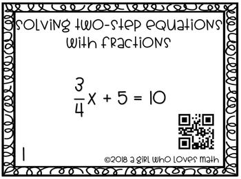 Solving Two-Step Equations with Fractions Task Cards