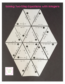 Solving Two Step Equations with Integers Hexagonal Puzzle