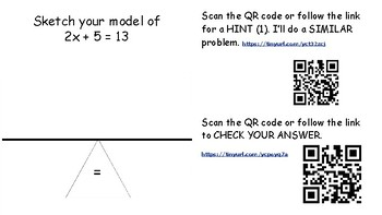 Solving Two-Step Equations with QR Code Video Hints and Answers