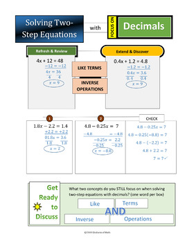 Solving Two-Step Equations with Rationals (Decimals): Mazes, Matching, in Color!