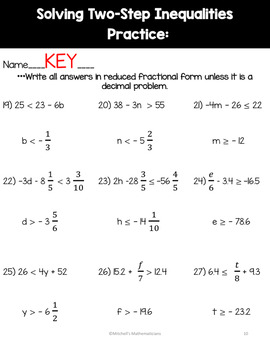 Solving Two-Step Inequalities