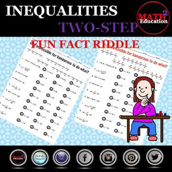 Solving Two Step Inequalities Fun Fact Riddle