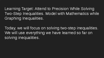 Solving Two-Step Inequalities Power Point 7.EE