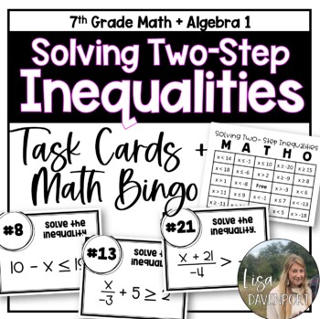 Solving Two- Step Inequalities (Task Cards & MATHO)