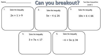 Solving Two-Step Inequalities – Two Breakout Activities!