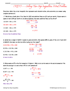 Solving Two Step Inequalities Word Problems