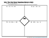 Solving Two-Step Linear Equations (Integers Only) Placemat Activity