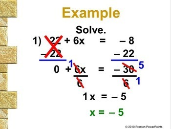 Linear Equations with Two-Steps in a PowerPoint Presentation