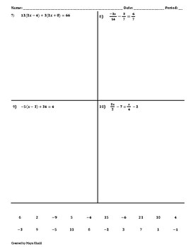 Solving Two-Step/Multi-Step Equations Crossword Puzzle