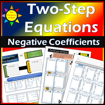 Solving Two-Step Equations: Negative Coefficients...with the 90 Year Old Ninja