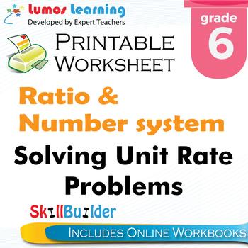Solving Unit Rate Problems Printable Worksheet, Grade 6