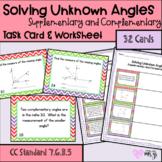 Solving Unknown Angles Task Card & Wksht