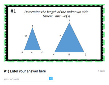 Solving Unknown Side Lengths of Similar Shapes - (Google Form & Video Lesson!)