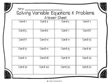 Solving Variable Equations & Story Problems - Task Cards Set 4