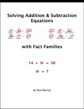 Solving Addition & Subtraction Variable Equations Using Fact Families
