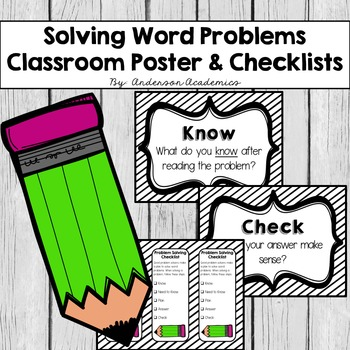 Solving Word Problem Class Posters & Checklists