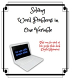 Solving Word Problem in One Variable Live Slide Deck DISTA
