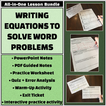 Writing Equations To Solve Word Problems Notes Worksheets & Teaching ...