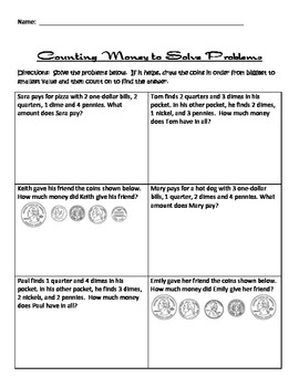 Solving Word Problems Involving Money