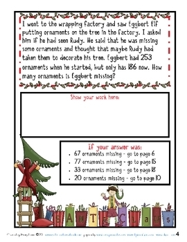 3rd Grade Word Problems - Math Mystery-Case of the Missing Reindeer