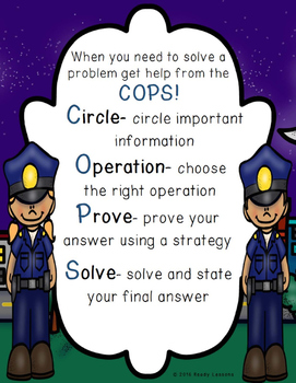 Solving Word Problems Strategy Poster for Elementary School Math