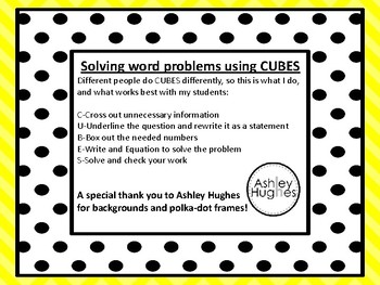 Solving Word Problems Using CUBES Posters and Example