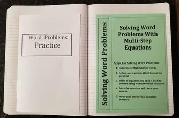 Solving Word Problems Using Multi-Step Equations  (Foldables)