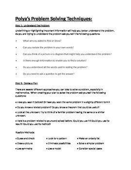 Solving Word Problems Using Polya's Method