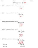 Solving & Writing Equations Quiz