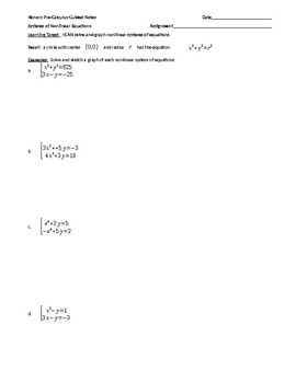 Solving a Nonlinear System of Equations Guided Notes