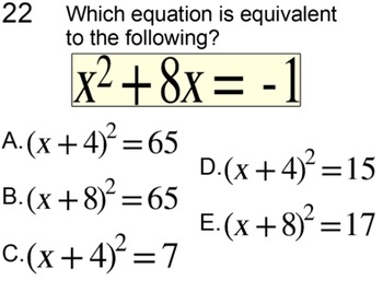 Solving a Quadratic by Completing the Square, Intro + 6 Assignments, Power Point