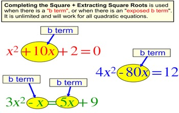 Solving a Quadratic by Completing the Square, Intro + 6 Assignments for PDF
