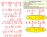Solving a Quadratic by Completing the Square, Intro + 6 Assignments for SMART