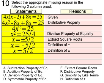 Solving a Quadratic by Extracting Roots, Intro + 7 Assignments for PDF