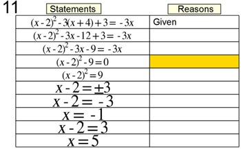 Solving a Quadratic by Extracting Roots, Intro + 7 Assignments for Power Point