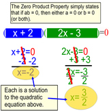 Solving a Quadratic Equation by Factoring, Intro + 6 Assignments for PDF