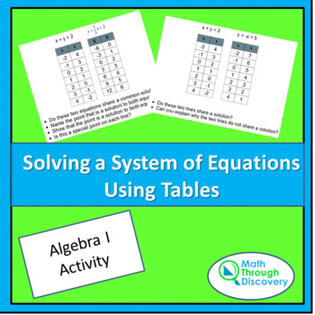 Algebra:  Solving a System of Equations Using Tables