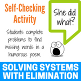 Solving a System of Equations with Elimination Fun Activity