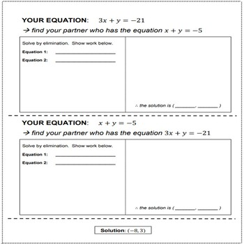 Solving a System of Linear Equations Using Elimination (in partners)
