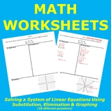 Solving a System of Linear Equations using Substitution, Elimination & Graphing