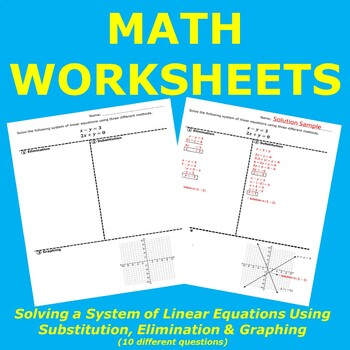 Solving a System of Linear Equations using Substitution, E