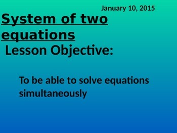 Solving a System of Two Equations