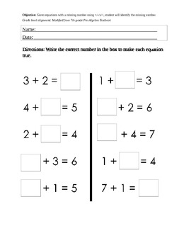 Solving Algebraic Equations; Differentiated Algebra For Special Ed 10th Grade Algebra Worksheets Kindergarten Algebra Worksheets #3