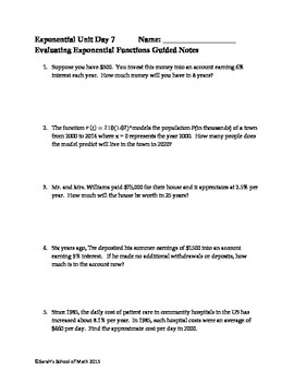 Solving and Evaluating Exponential Functions: Guided Notes, Activity, WS