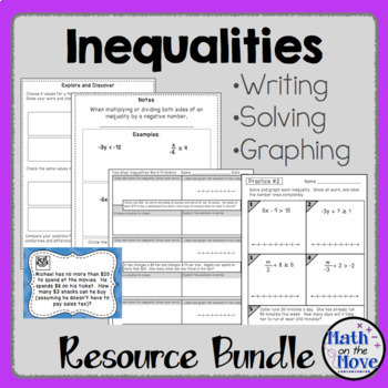 Inequalities Bundle (Writing, Solving and Graphing)