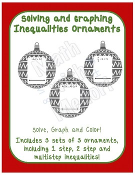 Solving and Graphing Inequalities Ornaments Christmas Coloring