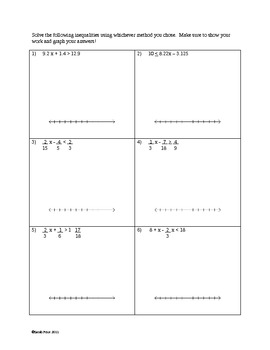 Solving and Graphing Inequalities with Rational Numbers Worksheet
