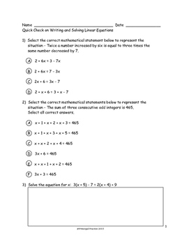 Solving and Graphing Linear Equations Quick Checks